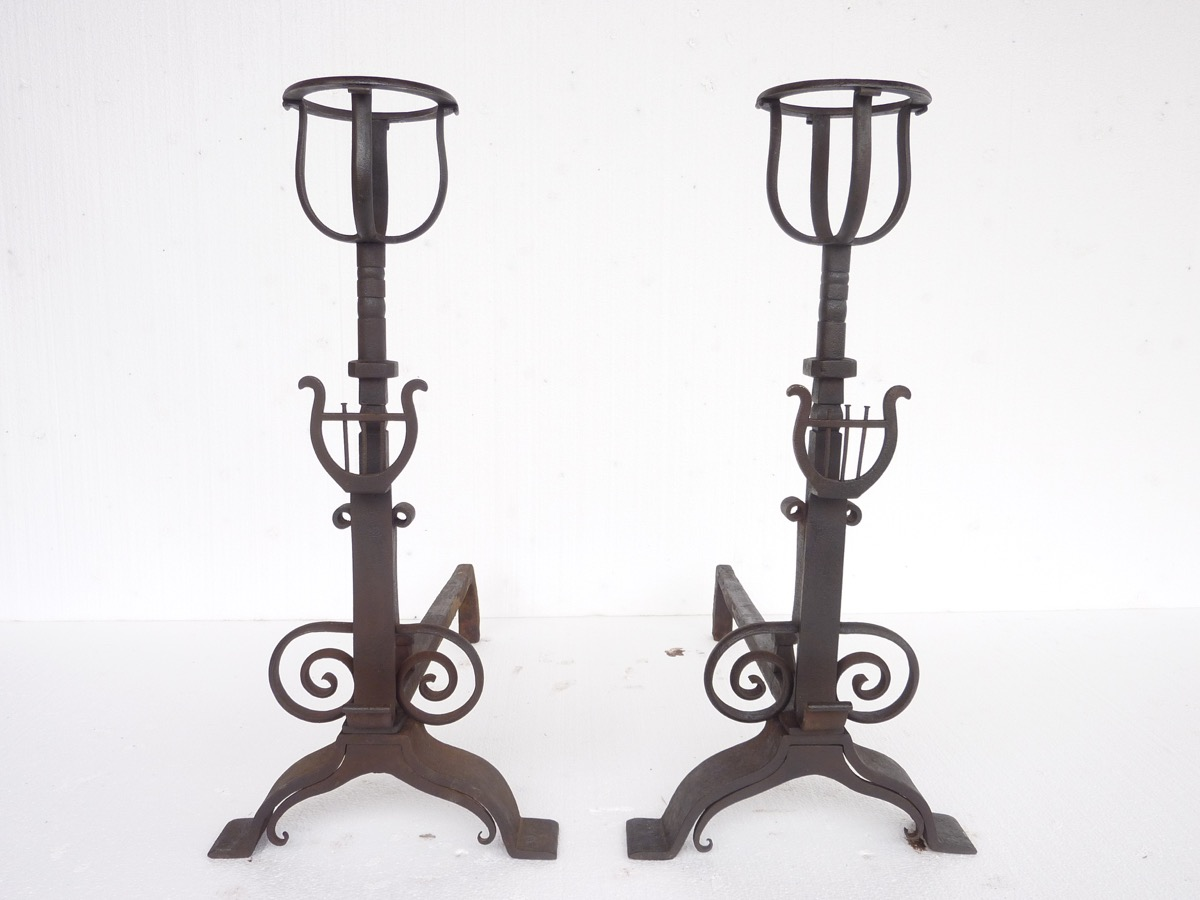 Antique andiron  - Wrought iron - Charles X - XIXth C.