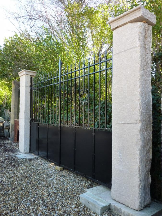 Portail ancien piliers en pierre fer forg art d co xxe s pf 427 for Deco portail fer forge