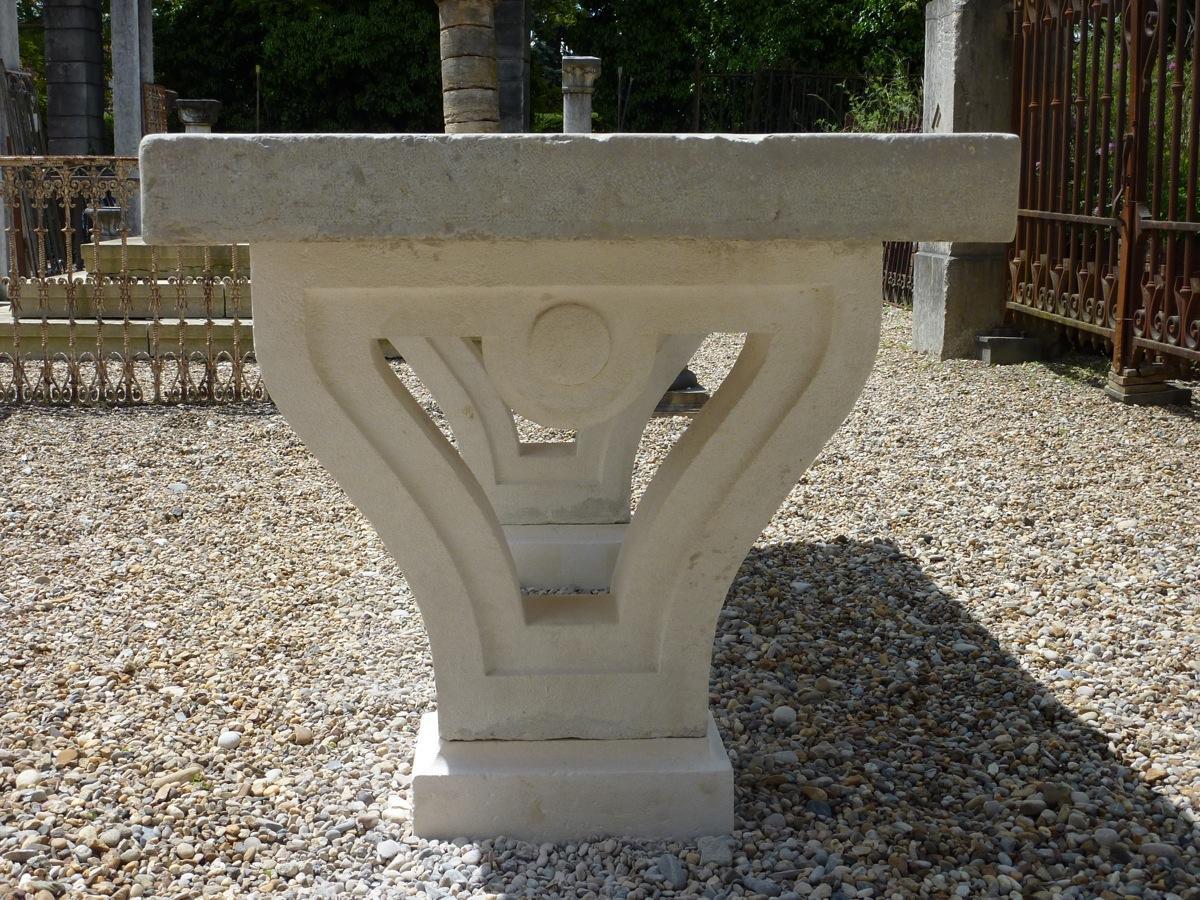 table de jardin en pierre pierre n o classique xixe s dj 470. Black Bedroom Furniture Sets. Home Design Ideas
