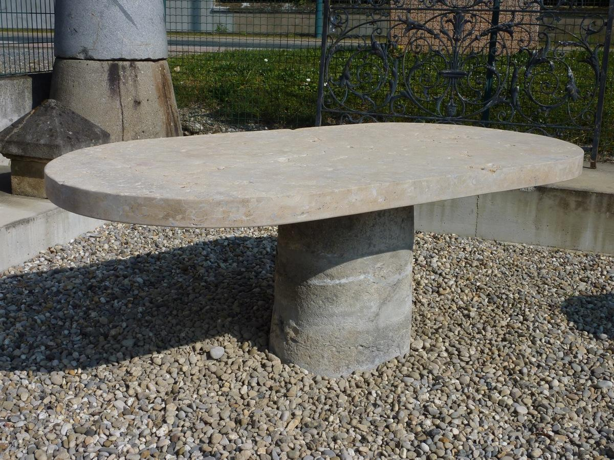 Table de jardin en pierre pierre xxe s dj 553 for Table jardin en pierre
