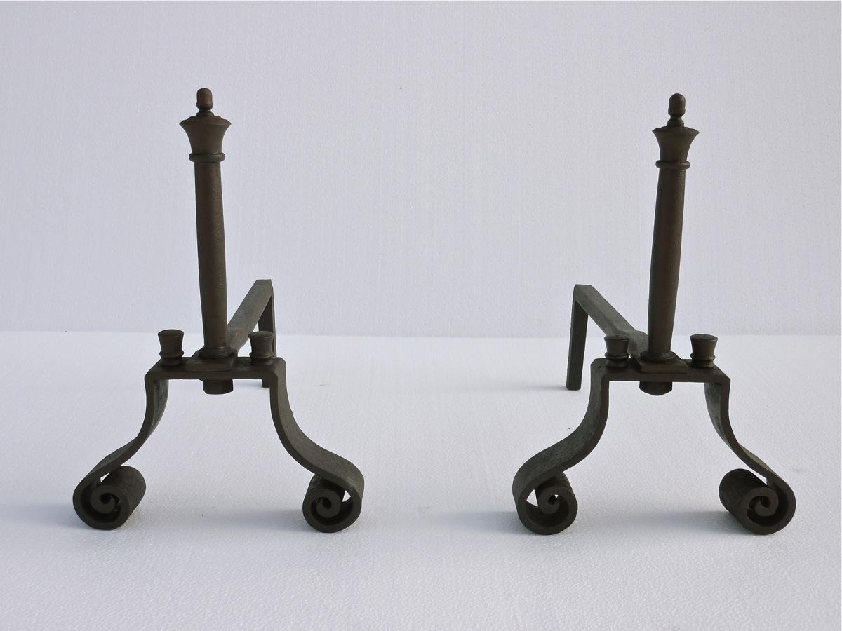 Antique andiron  - Wrought iron - Directoire - XVIIIthC.