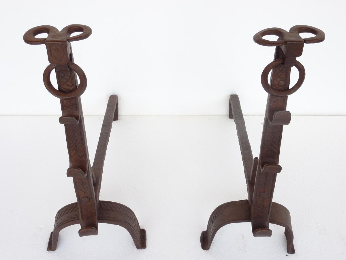 Antique andiron  - Wrought iron - Rustic country - XVIIthC.