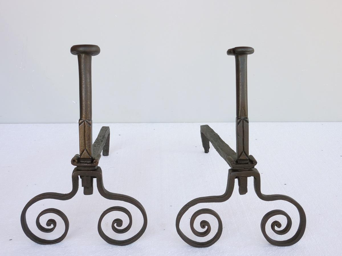 Antique andiron  - Wrought iron - Rustic country - XVIIIthC.