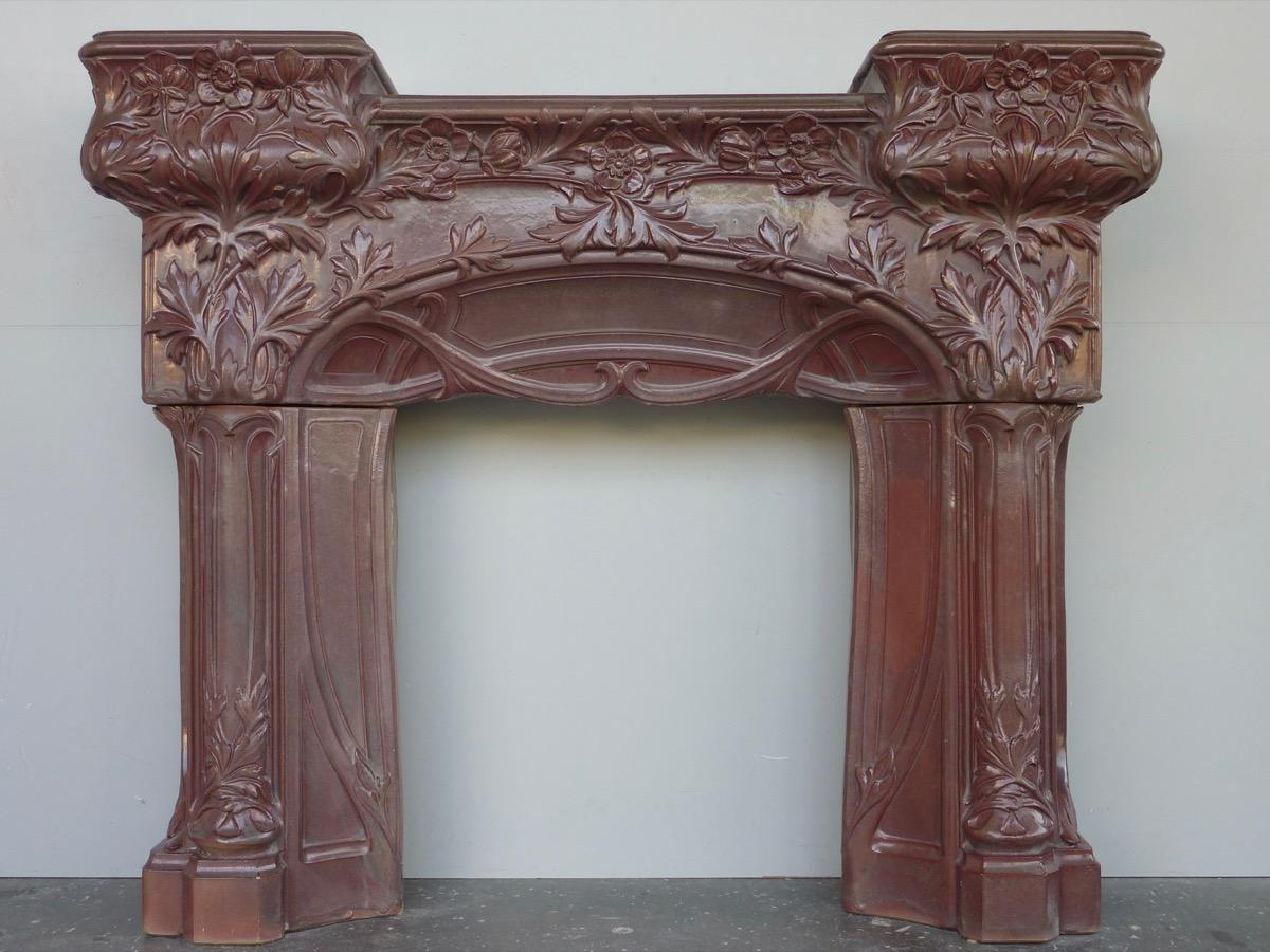 Antique fireplace  - Terra cotta, Stoneware - Art nouveau - XIXthC.