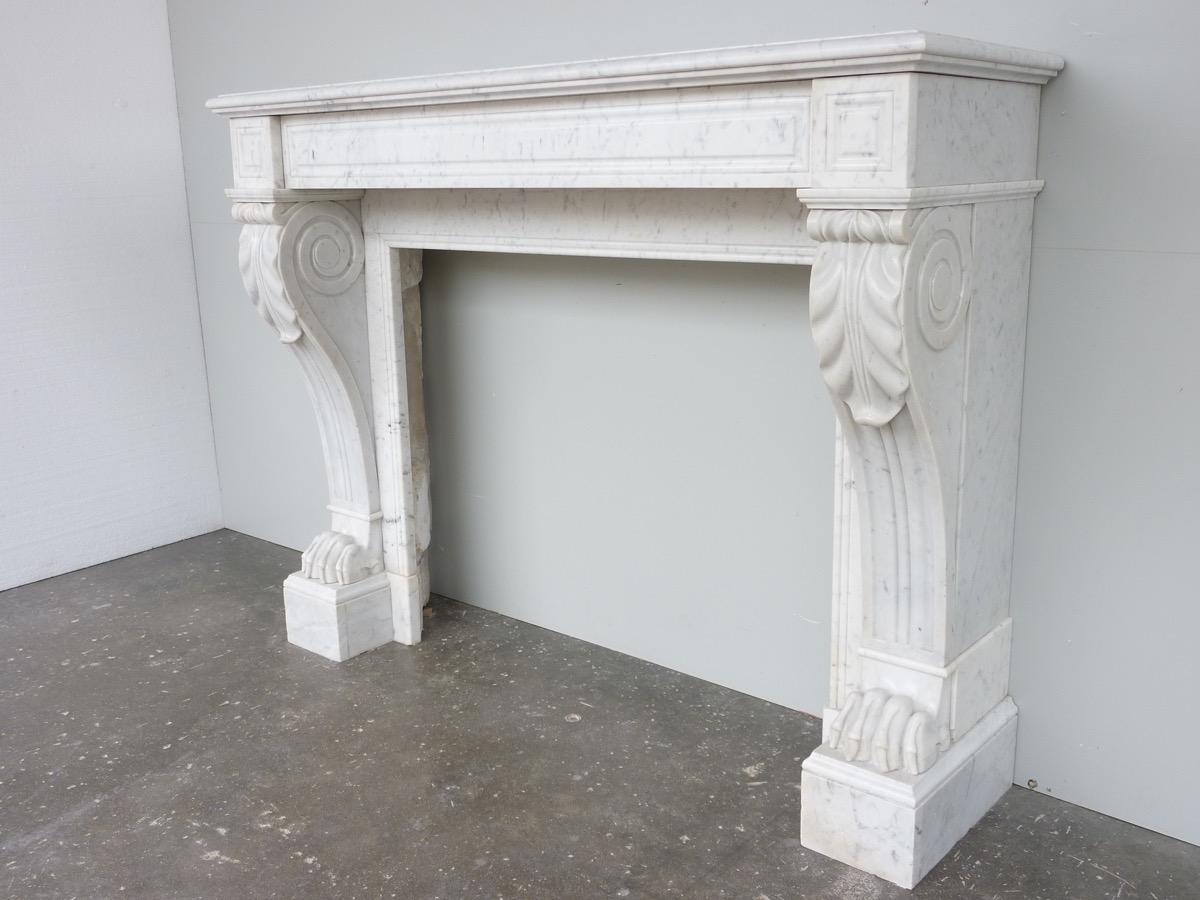 chemin e ancienne marbre empire xixe s c 998. Black Bedroom Furniture Sets. Home Design Ideas